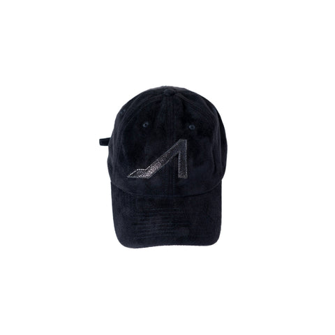 Black ultra suede hat with black stingray logo