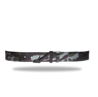 BLACK METALLIC CAMO NAPA LEATHER BELT