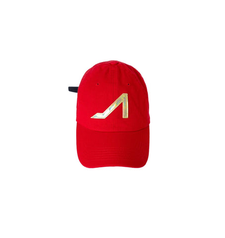 Red dad hat gold patent logo
