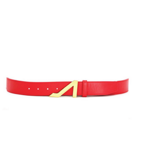 RED BELT WITH GOLD BUCKLE MADE WITH NAPA LEATHER