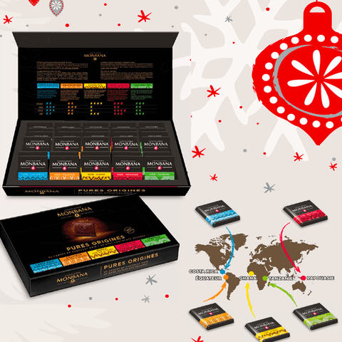 Chocolats Monbana - Coffret assortiment de 50 Carrés Pures Origines