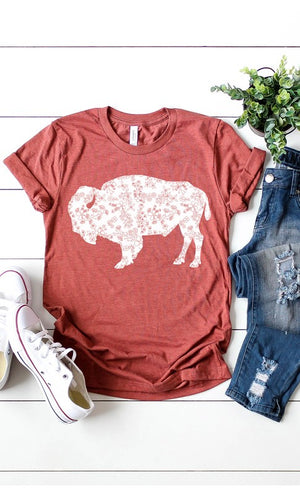Women's Floral Buffalo Graphic Tee in Heather Red