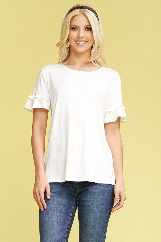 Women's Round Neck Sleeve Detail Top in Plus Sizes