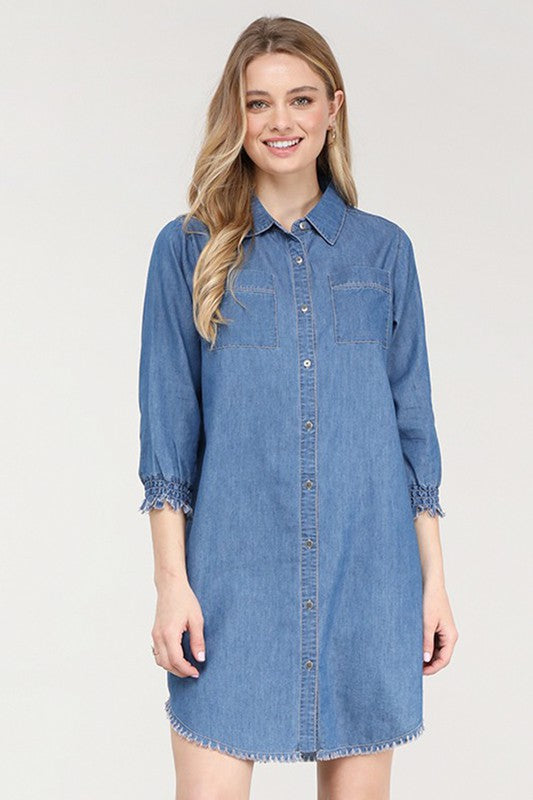 Women's Mid Blue Chambray Dress with 3/4 Sleeve
