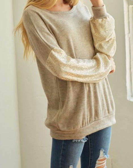 Thermal cashmere solid round neck tunic with sequin sleeve