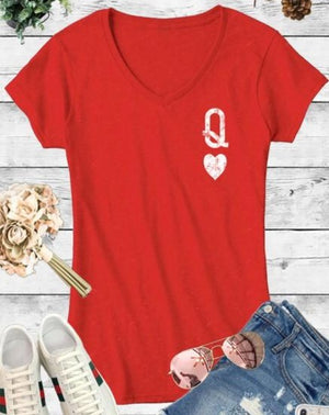 Queen of Hearts Red V-neck Tee