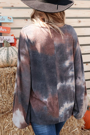 Load image into Gallery viewer, Brown Tie Dye Balloon Sleeve Top 95% Cotton 5 % Spandex