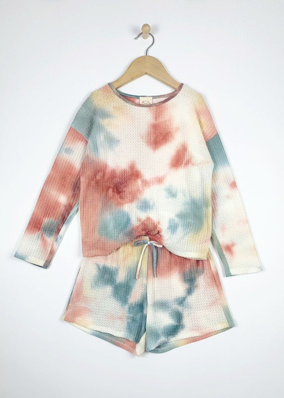 Youth Girls Hoodie and Short Lounge Set in Waffle Tie Dye