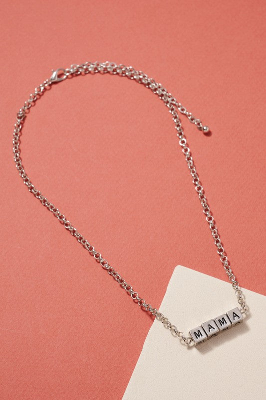 Short Necklace with Square Mama Engraved Blocks 16""
