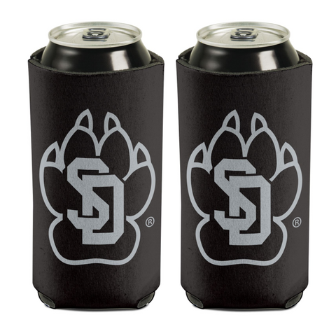 16 oz Can Cooler Black with SD Paw