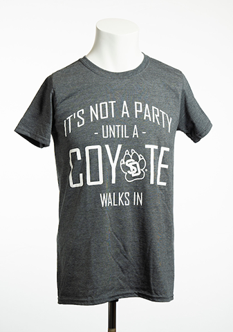Gray It's Not a Party Until a Coyote Walks In Tee