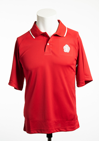 Red Performance Polo with White Stripe on Collar