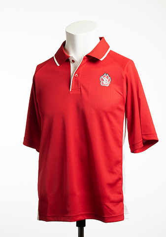 Red Performance Color Blocked Polo with SD Paw