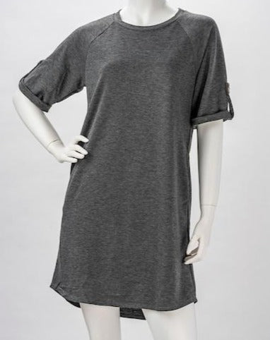 French Terry Short Sleeve Tunic With Pocket and Sleeve Details