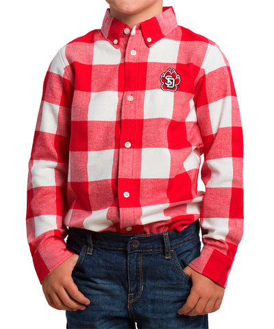 Youth Red Plaid Button-Down Shirt