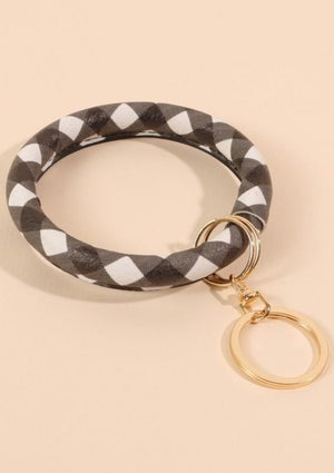 Buffalo Plaid PU leather Keychain