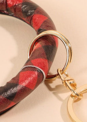 Load image into Gallery viewer, Buffalo Plaid PU leather Keychain