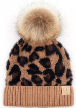 C.C Kids Leopard Pattern Beanie with Pom