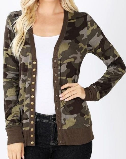 Camouflage Print Snap Button Cardigan