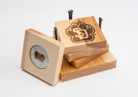 SD Paw Hickory Coaster Set