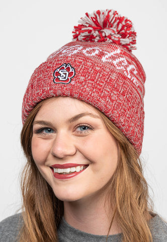 Heather Red Coyotes Knit Pom Hat