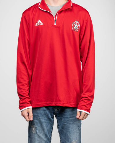 Red Quarter Zip Crew Neck
