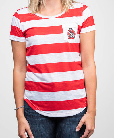 Red & White Stripe Tee with SD Paw on the Pocket