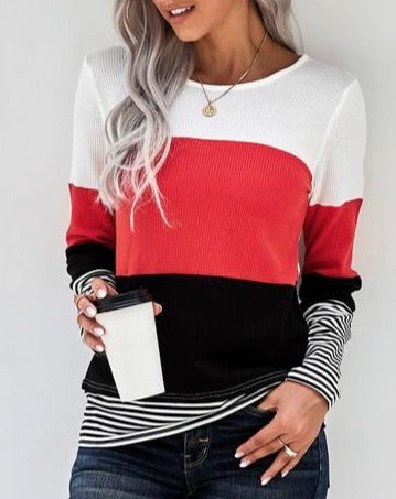 Contrast color block and striped Pullover style, long sleeve