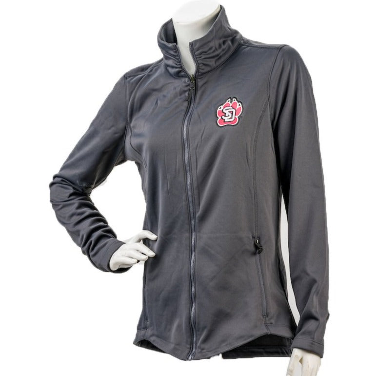 Women's Jacket CI Sport Gray in Smooth Fleece with Full Zip and left Chest SD Paw