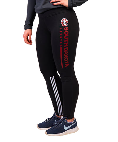 USD Coyotes Adidas Black Cotton Leggings with Vertical Logo Design