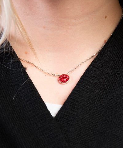 South Dakota Coyotes Red Crystal Disk Necklace