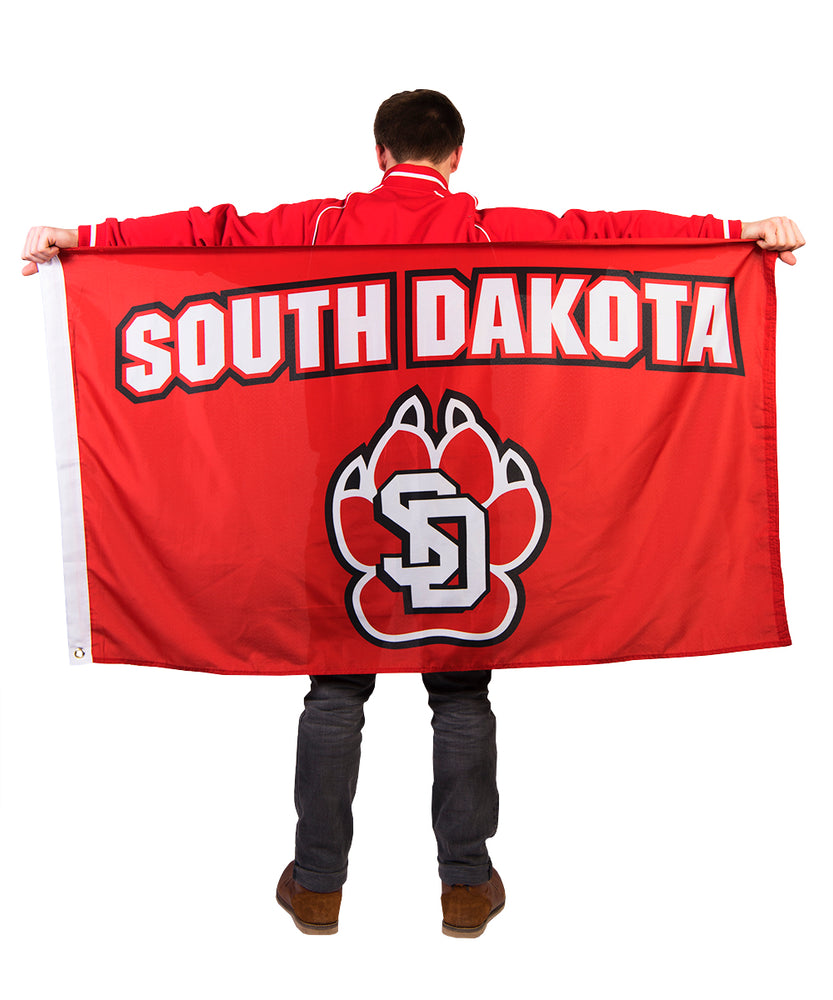 South Dakota Coyotes Red 3' x 5' Silk Screened SD Paw Flag with Grommets