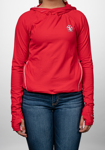 Red Chute-Neck Hooded Sweatshirt