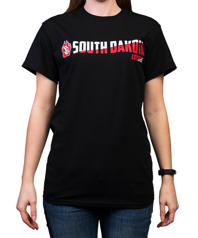 South Dakota Coyotes Black Angled SD Coyotes Tee