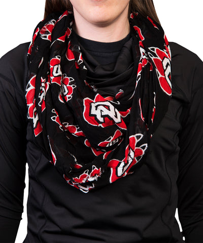 South Dakota Coyotes Black SD Paw Infinity Scarf