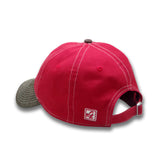 Hat Red w/Brown leather Bill SD Paw