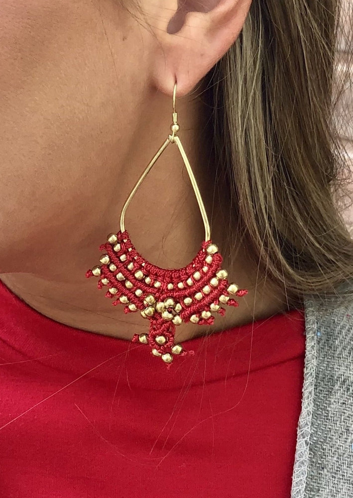 Red/Gold Hoop Detail Beaded