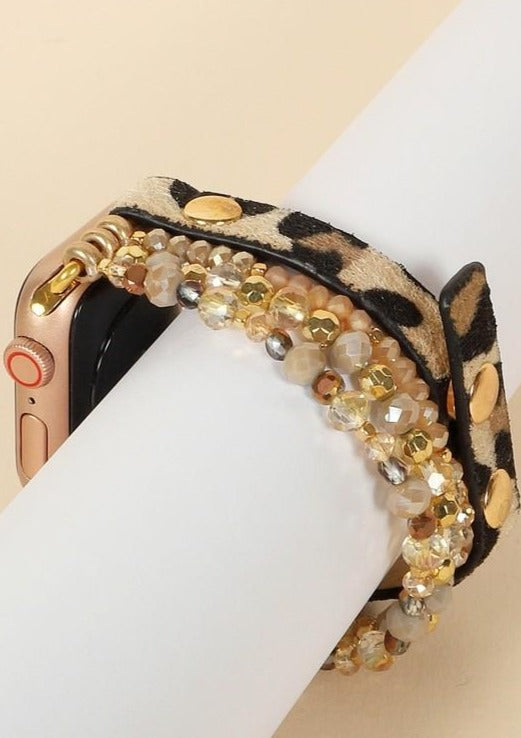 iWatch Band with Leopard Print and Crystals