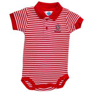 Infant Red Striped Polo Body Suit