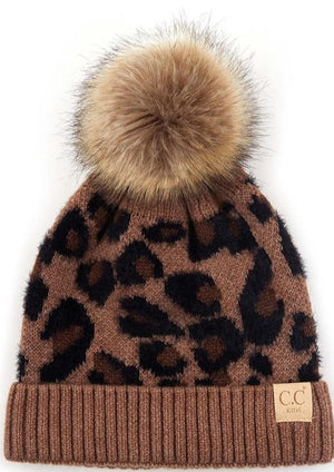 Load image into Gallery viewer, C.C Kids Leopard Pattern Beanie with Pom