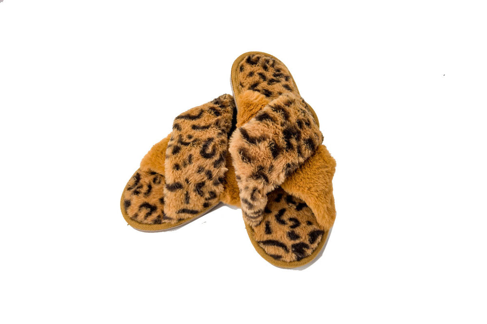 Leopard Print Faux Fur Slippers with Hard sole