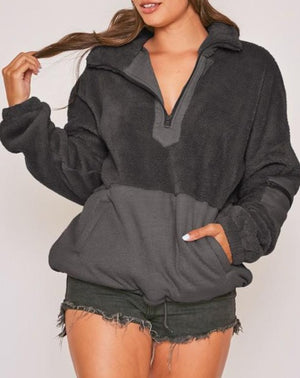 Long Sleeve Faux Fur Knit Pullover with Pockets