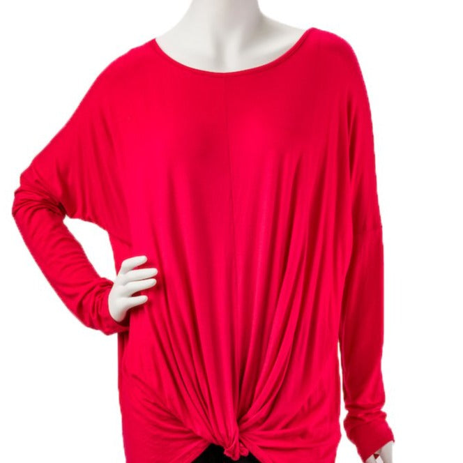 Long Sleeve Front Gathered Red Knot Top