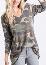 Long Sleeve V-Neck Camo Print Top
