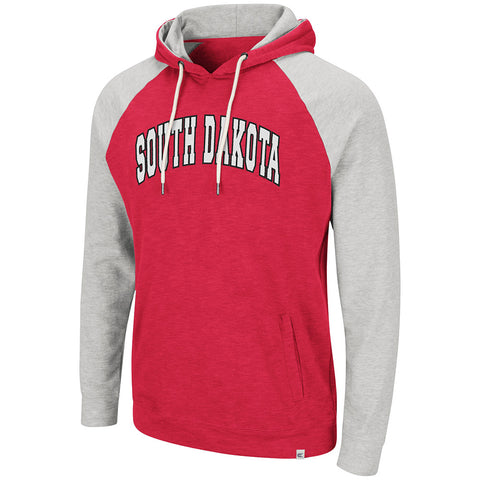Men's Red Hoodie With Gray Sleeves