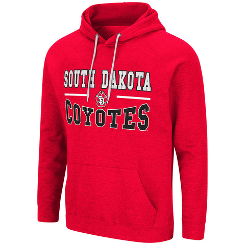 Men's Red Hoodie with Tackle Twill South Dakota Graphic