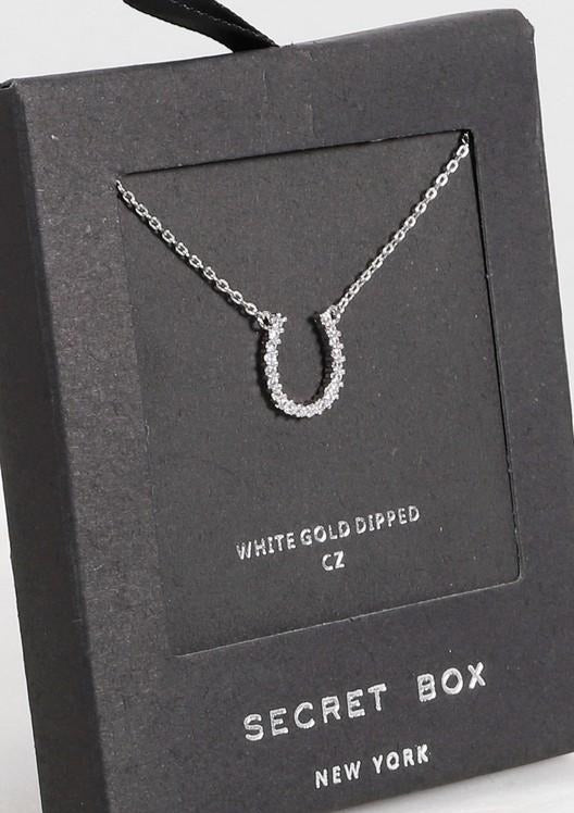 Load image into Gallery viewer, Necklace with Horseshoe Pendant 24K White Gold