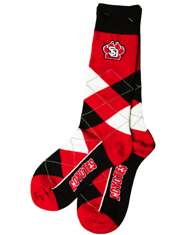South Dakota Coyotes Red Argyle Socks