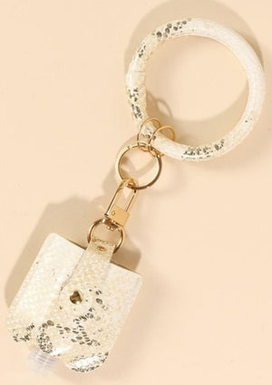Print Metallic Natural Colored PU Leather Mini Sanitizer Holder Key Ring with Snap Button Closure