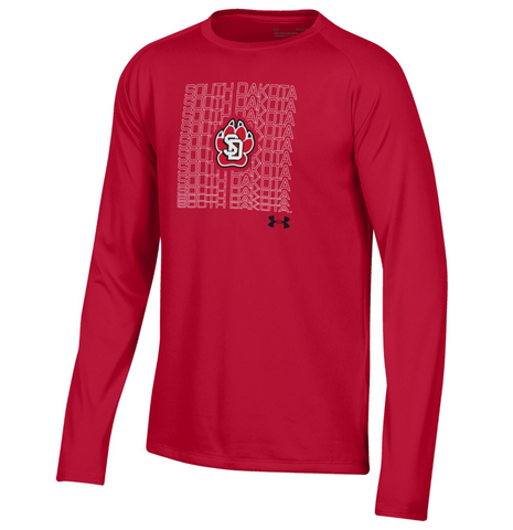 Youth Red Tee L/S Tech Underarmour